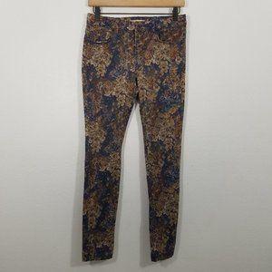 Zara Floral Print Stretch Skinny Jeans Size 6